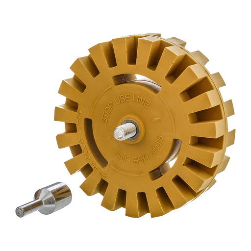 Heavy Duty Rubber Eraser Wheel 4? Inch Pad & Adapter ? Pinstripe, Adhesive Remover, Vinyl Decal, Graphics Removal Tool