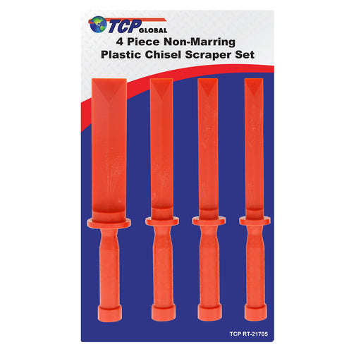 "TCP Global 4 Piece Non-Marring Plastic Chisel Scraper Set - 3/4"", 7/8"", 1"", 1-1/2"" Wide, Length 11"""