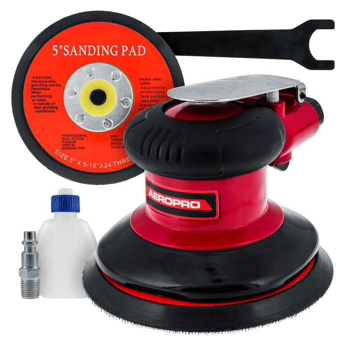"Professional Heavy Duty 5"" Dual-Action Random Orbit Air Palm Sander with Both PSA and Hook & Loop Backing Pads - Orbital Pneumatic Sanding Disc Sander"