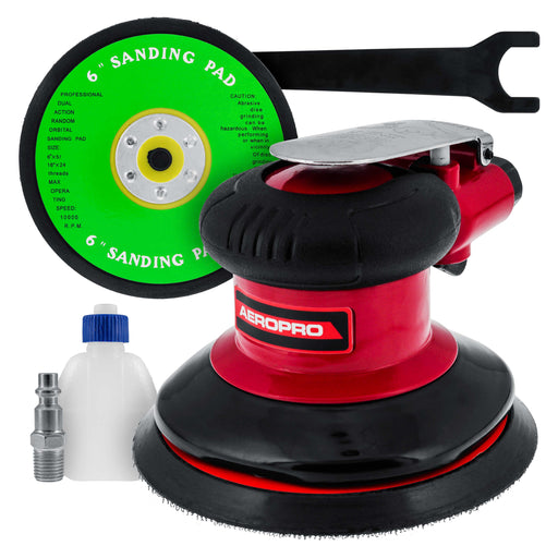 "Professional Heavy Duty 6"" Dual-Action Random Orbit Air Palm Sander with Both PSA and Hook & Loop Backing Pads - Orbital Pneumatic Sanding Disc Sander"