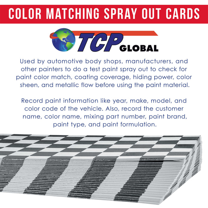 TCP Global Paint Color Matching Spray Out Cards (Pack of 100) - Checkered Test Panels for Coating Coverage, Hiding Power, Sheen, Automotive, Bodyshop