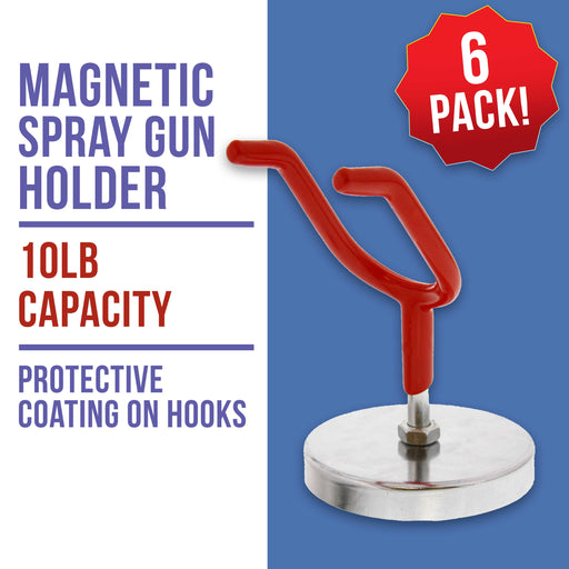 Magnetic Paint Spray Gun Holder Stand for Gravity Feed HVLP Booth Cup Body Shop Wall (Pack of 6)
