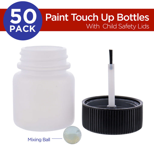 TCP Global Paint Touch Up Bottles with Child Safety Lids (Box of 50) - 1 Ounce (30ml), Mixing Ball, Touch-Up Applicator Brush - Fix Chips, Scratches