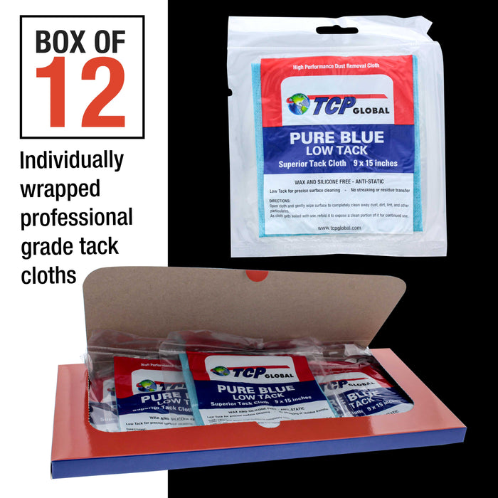 TCP Global - Pure Blue Low Tack Superior Tack Cloths - Tack Rags (Box of 12), Automotive Car Painters, Removes Dust Sanding Particles, Cleans Surfaces