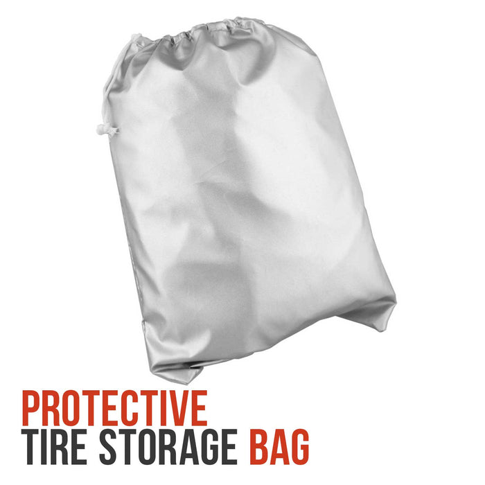 "Seasonal Tire Storage Bag - Dustproof Protective Polyester Cover with Drawstring - Holds 4 tires up to 32"" Diameter"