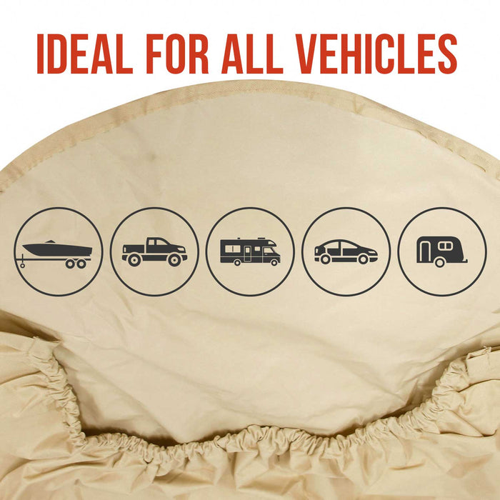 "Set of 4 Oxford Waterproof Canvas Wheel Tire Covers, Fits from 27"" up to 29"" Diameter Tire Sizes"
