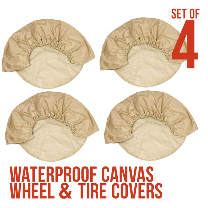 "Set of 4 - Oxford Waterproof Canvas Wheel Tire Covers, Fits from 30"" up to 32"" Diameter Tire Sizes"