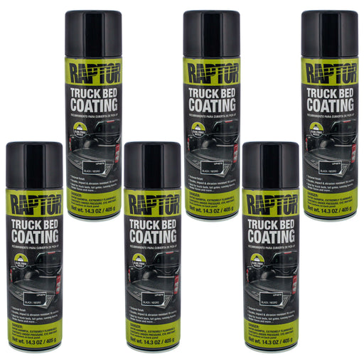 Raptor Black Truck Bed Coating 14.3 Ounce Aerosol Can (Pack of 6)