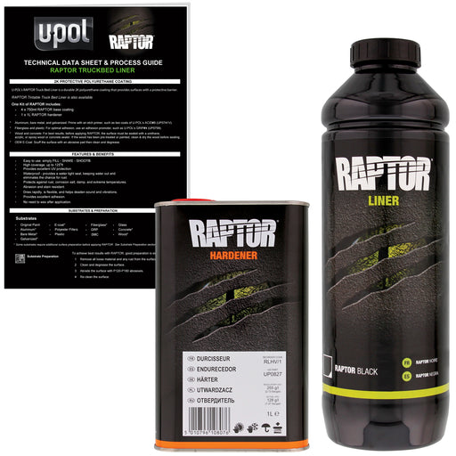 Black - U-POL Urethane Spray-On Truck Bed Liner & Texture Coating, 1 Liter