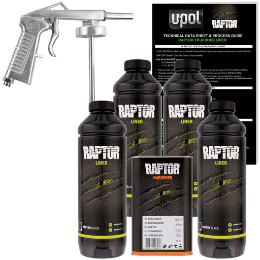 Black - U-POL Urethane Spray-On Truck Bed Liner Kit with included Spray Gun, 4 Liters