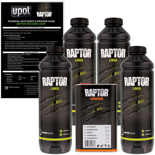 Black - U-POL Urethane Spray-On Truck Bed Liner & Texture Coating, 4 Liters