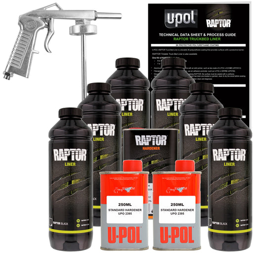 Black - U-POL Urethane Spray-On Truck Bed Liner Kit with included Spray Gun, 6 Liters