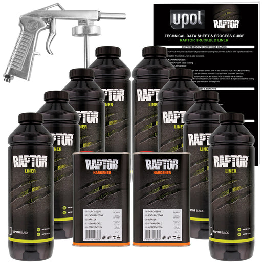Black - U-POL Urethane Spray-On Truck Bed Liner Kit with included Spray Gun, 8 Liters