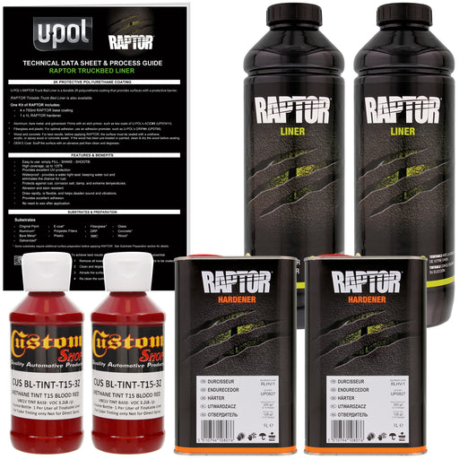 Blood Red - U-POL Urethane Spray-On Truck Bed Liner & Texture Coating, 2 Liters