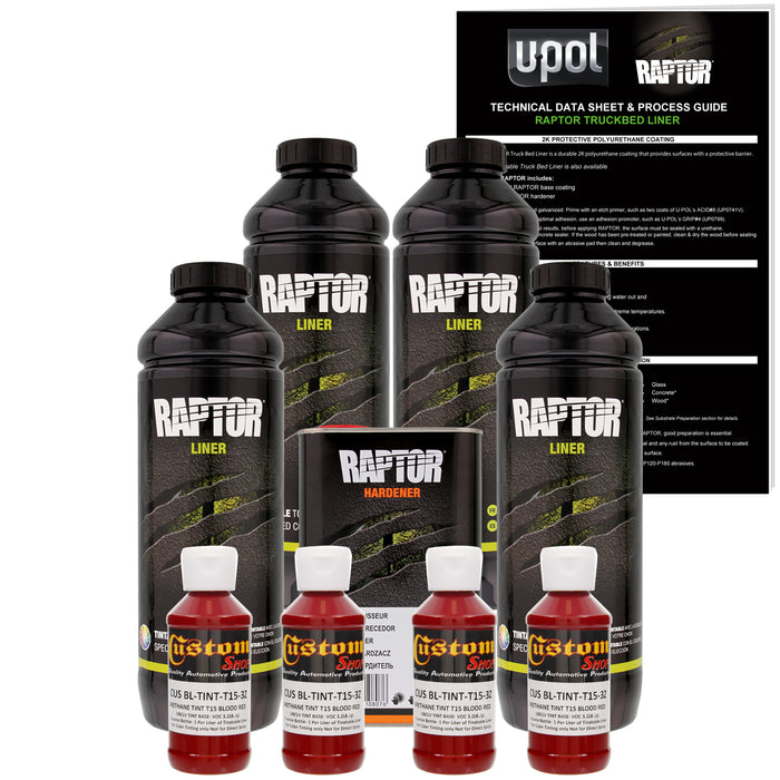 Blood Red - U-POL Urethane Spray-On Truck Bed Liner & Texture Coating, 4 Liters