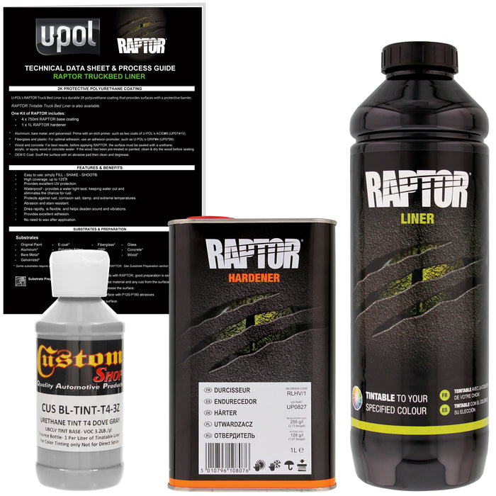 Dove Gray - U-POL Urethane Spray-On Truck Bed Liner & Texture Coating, 1 Liter