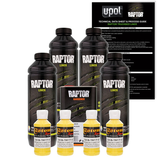 Safety Yellow - U-POL Urethane Spray-On Truck Bed Liner & Texture Coating, 4 Liters