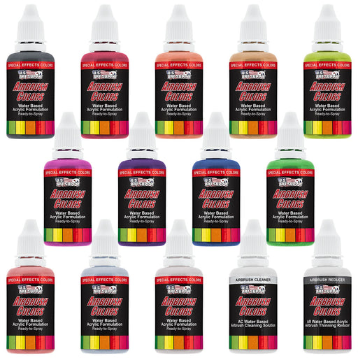 12 Color Pearlized Acrylic Airbrush Paint Set; Pearl Colors plus Reducer & Cleaner, 1 oz. Bottles