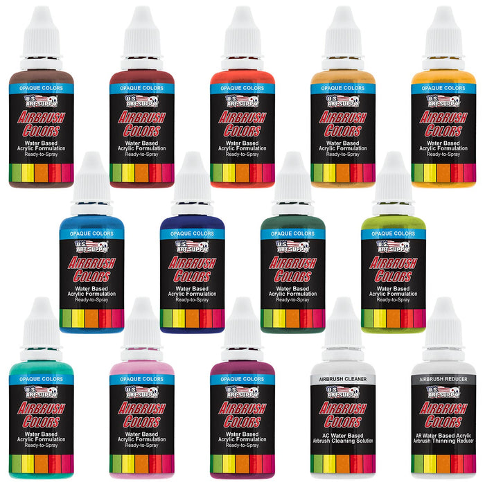 12 Color Secondary Opaque Colors Acrylic Airbrush Paint Set with Reducer & Cleaner, 1 oz. Bottles