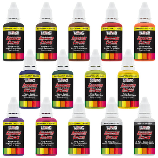 12 Color Acrylic Transparent Colors Airbrush Paint Set with Reducer & Cleaner, 1 oz. Bottles