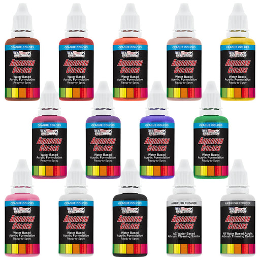 12 Color Primary Opaque Colors Acrylic Airbrush Paint Set with Reducer & Cleaner, 1 oz. Bottles