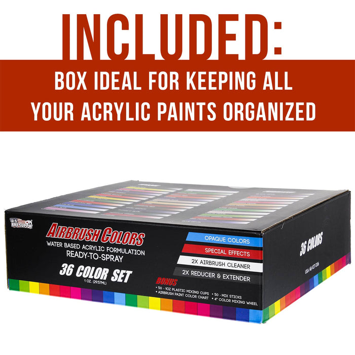 36 Color Acrylic Airbrush Paint Set; Opaque & Pearl Colors plus Reducer, Cleaner, Mixing Supplies & Color Mixing Wheel