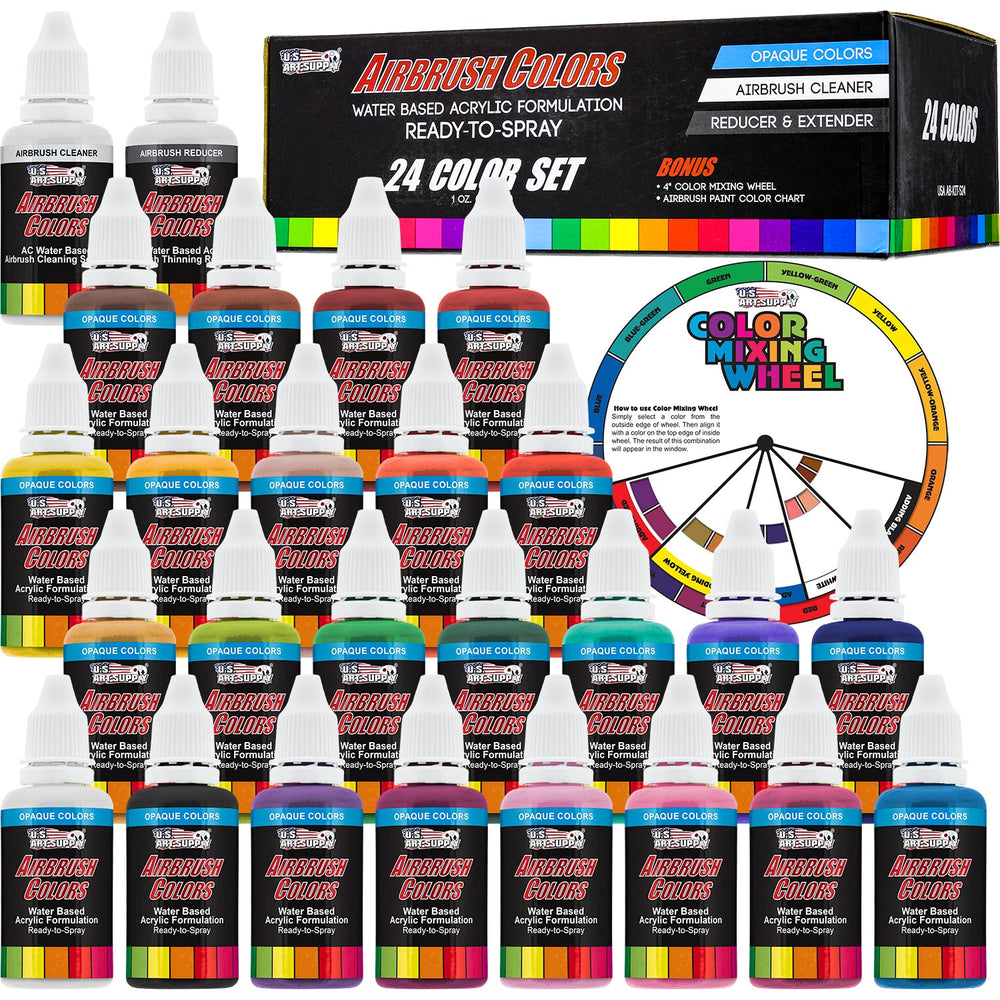 24 Color Acrylic Airbrush Paint Set; Opaque Colors plus Reducer, Cleaner & Color Mixing Wheel, 1 oz. Bottles