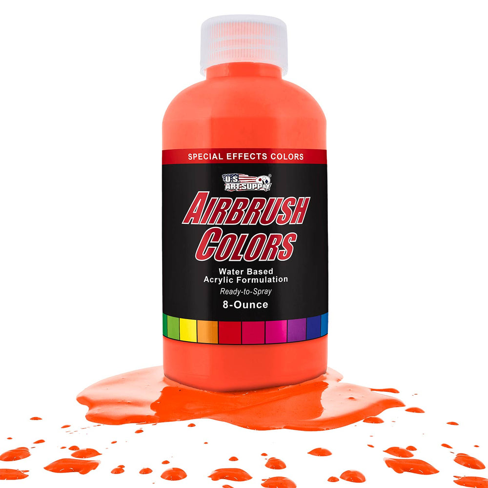 Neon Orange, Fluorescent Special Effects Acrylic Airbrush Paint, 8 oz.