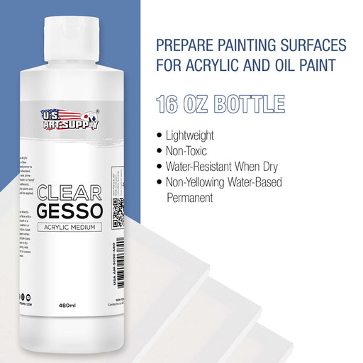 Clear Gesso Acrylic Medium, 480ml Bottle
