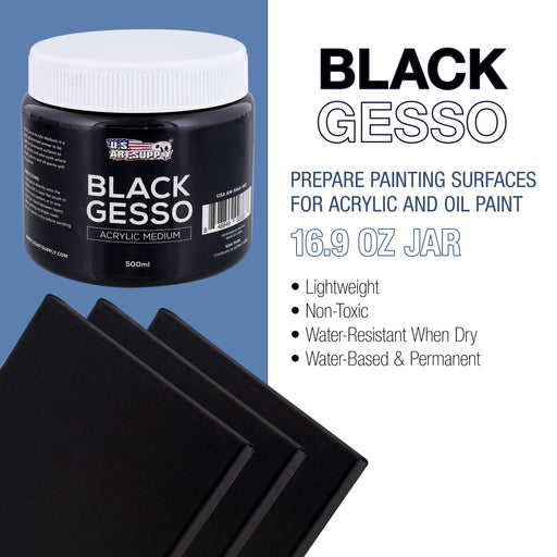 Black Gesso Acrylic Medium, 500ml Tub