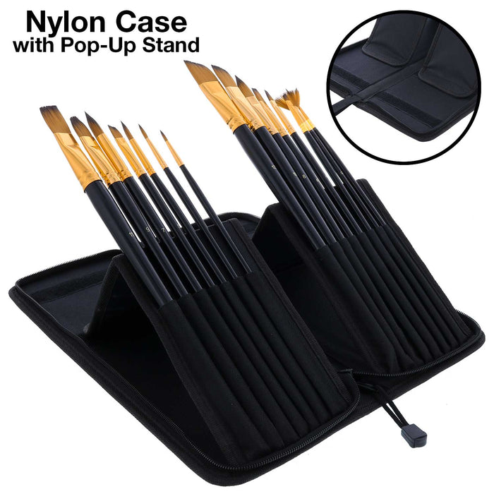 15 Piece Artist Long Handle Paint Brush Set in Zippered Nylon Pop-Up Travel Storage Case