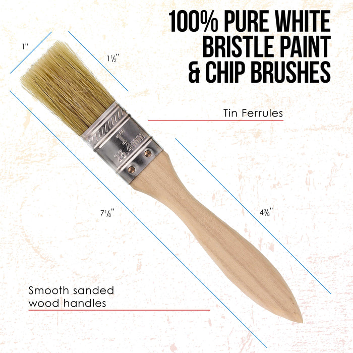 72 Pack of 1 inch Paint and Chip Paint Brushes for Paint, Stains, Varnishes, Glues, and Gesso