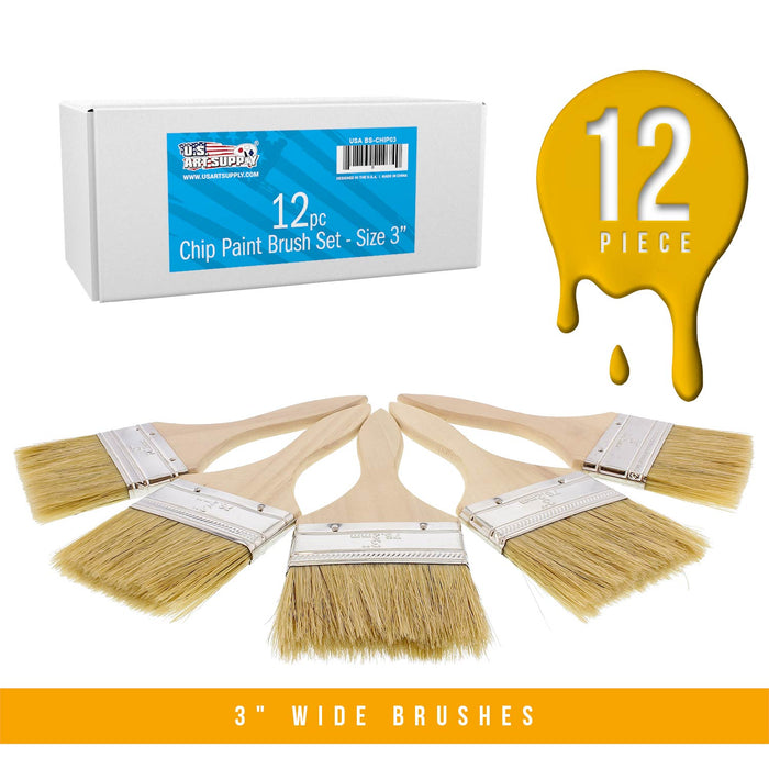 12 Pack of 3 inch Paint and Chip Paint Brushes for Paint, Stains, Varnishes, Glues, and Gesso