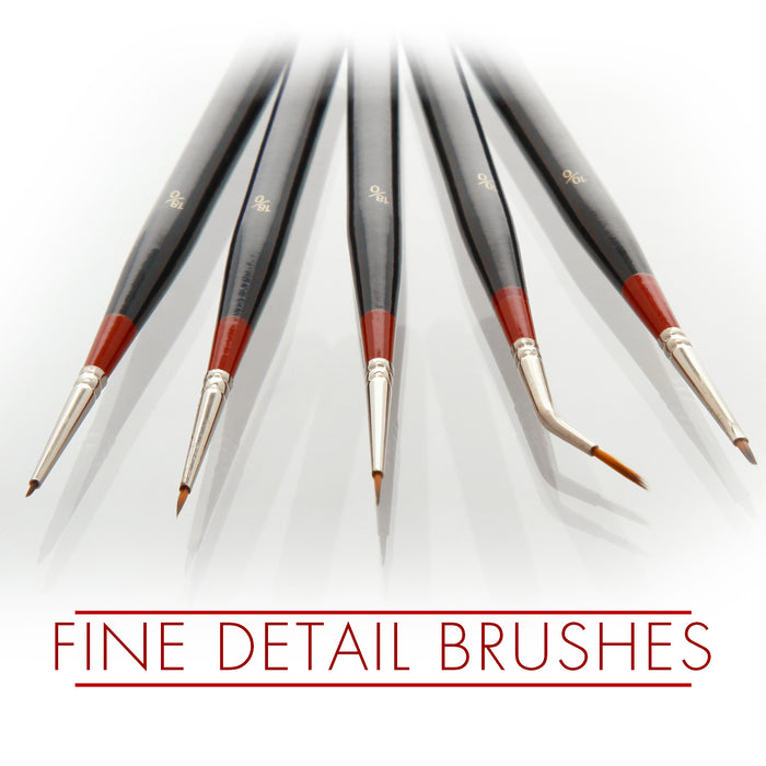 5 Piece Miniature Tight Spot Micro Fine Detail Art & Beauty Taklon Brush Set with Wood Handles
