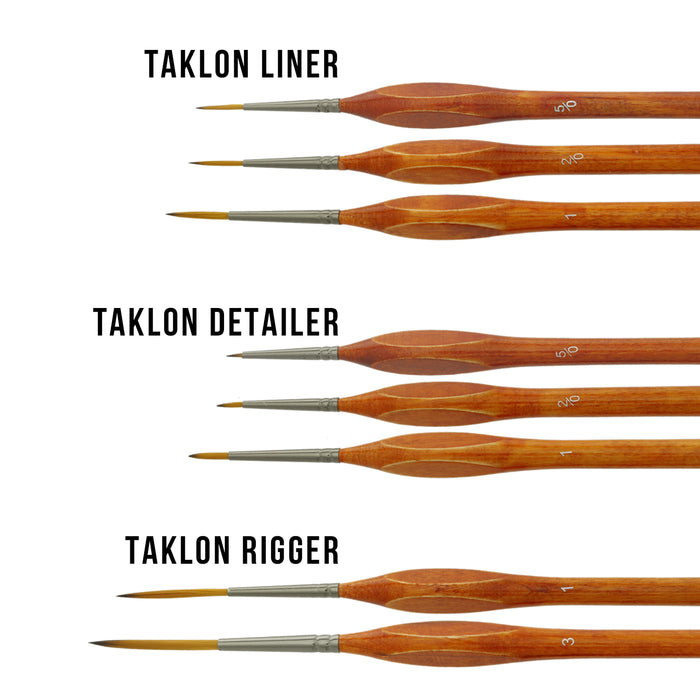 8 Piece Taklon Detail and Liner Artist Brush Set with Wood Comfort Grip Handles - Art, Detailing, Acrylic, Oil, Watercolor