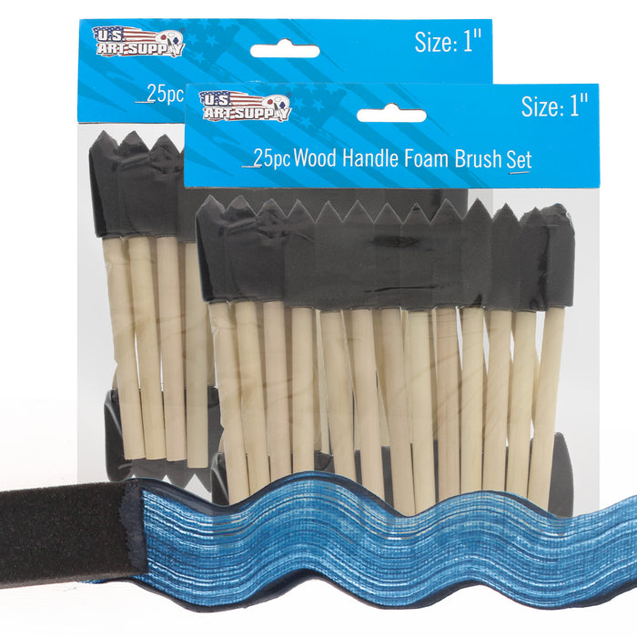1 inch Foam Sponge Wood Handle Paint Brush Set (Value Pack of 50) - Lightweight, durable and great for Acrylics, Stains, Varnishes, Crafts, Art