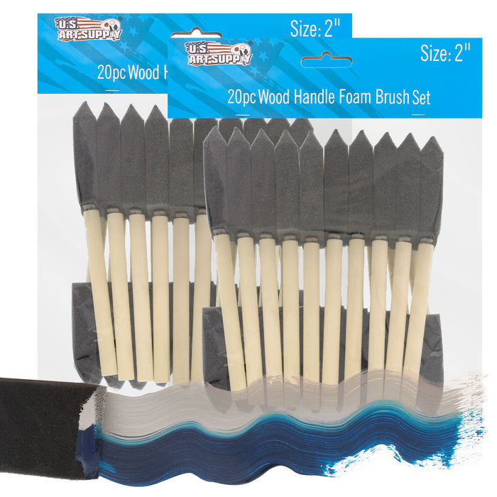 2 inch Foam Sponge Wood Handle Paint Brush Set (Value Pack of 40) - Lightweight, durable and great for Acrylics, Stains, Varnishes, Crafts, Art