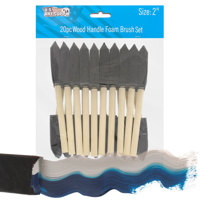 2 inch Foam Sponge Wood Handle Paint Brush Set (Value Pack of 20) - Lightweight, durable and great for Acrylics, Stains, Varnishes, Crafts, Art