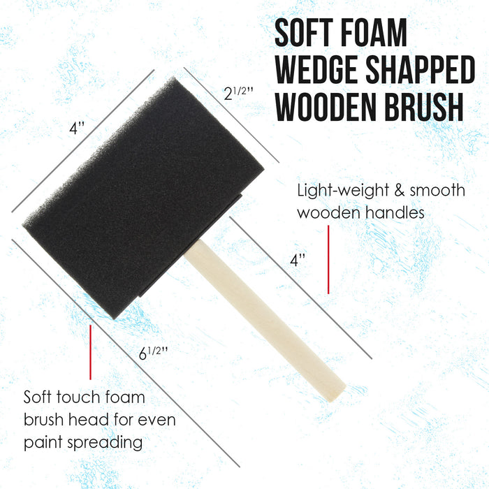 4 inch Foam Sponge Wood Handle Paint Brush Set (Value Pack of 10) - Lightweight, durable and great for Acrylics, Stains, Varnishes, Crafts, Art