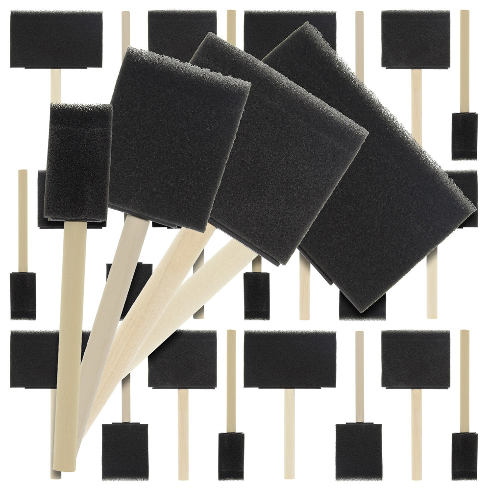 Variety Pack Foam Sponge Wood Handle Paint Brush Set (Value Pack of 20 Brushes) - Lightweight, durable and great for Acrylics, Stains, Varnishes, Crafts, Art