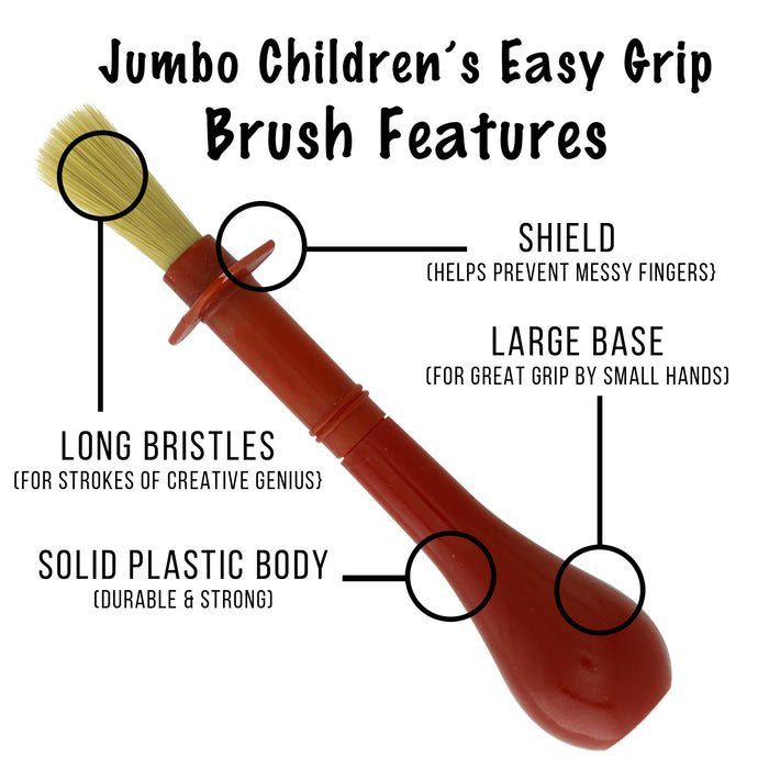 6 Piece Jumbo Children's Tempera Artist Paint Brushes with Easy to Hold Stubby Handles