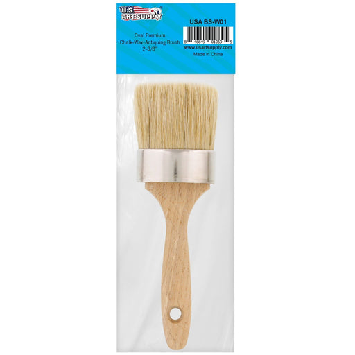 "Multi Use 2-1/8"" Oval Chalk and Wax Brush for Chairs, Dressers, Cabinets and Other Wood Furniture - 100% Natural Bristles, Lightweight and Rust Resistant"