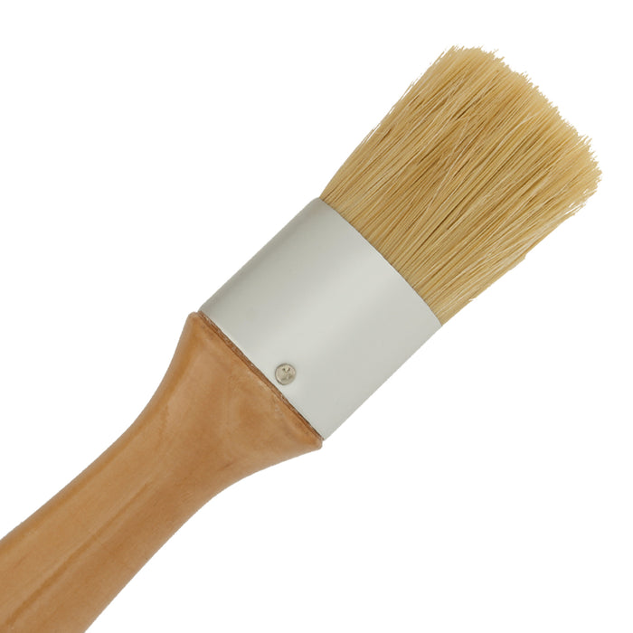 2-Piece Multi Use Oval and Round Chalk, Wax and Stencil Brushes for Chairs, Dressers, Cabinets and Other Wood Furniture - 100% Natural Bristles, Lightweight and Rust Resistant