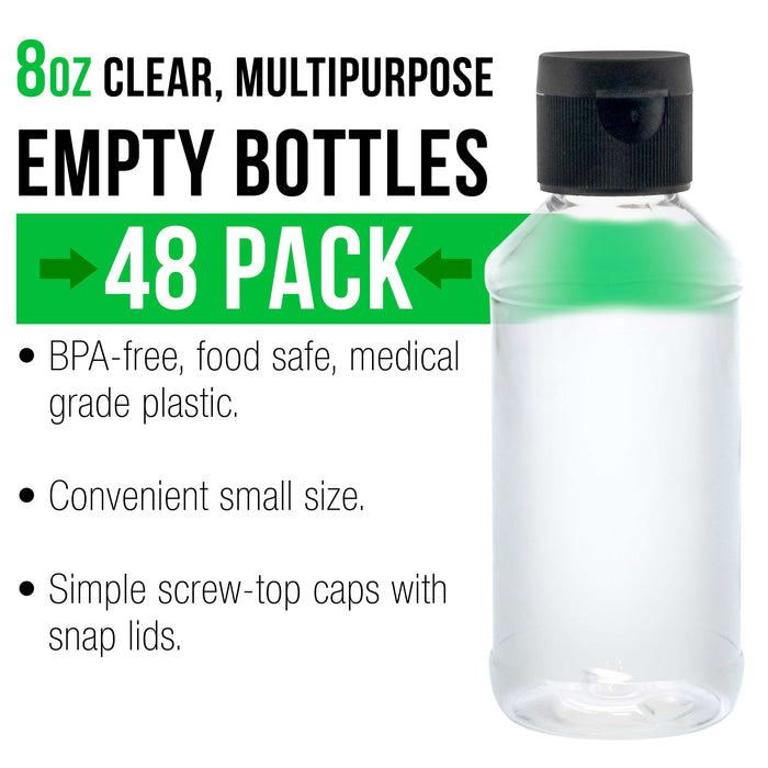 8 ounce Squeeze PET Plastic Bottles with Flip Cap - BPA-free, food safe, medical grade plastic, acrylic pouring paint (Pack of 48)
