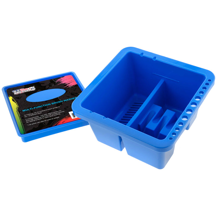 12 Hole Multi-Function Plastic Brush Washer, Cleaner and Holder with Palette Lid - Clean, Dry, Rest, Store, Hold Artist Paint Brushes - Cleaning Acrylic, Watercolor, Oil Painting