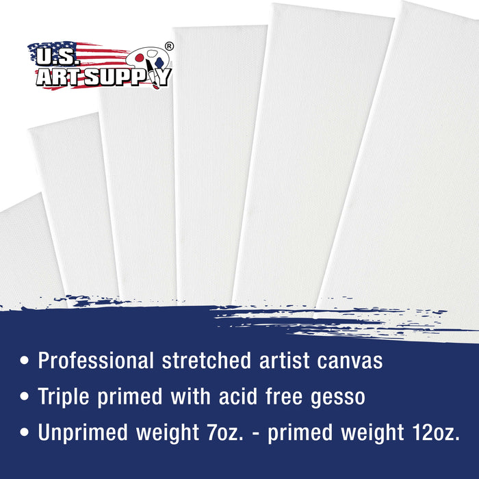 Multi-Pack 2-Ea of 4x4, 5x7, 8x10, 9x12, 11x14. Professional Quality Small 12oz Primed Gesso Artist Stretched Canvas