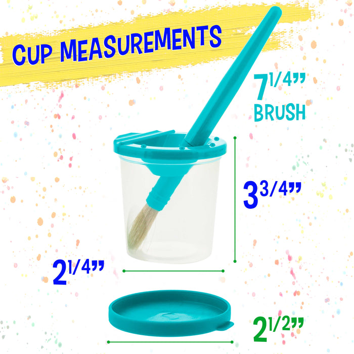 10 Piece Children's No Spill Paint Cups with Colored Lids and 10 Piece Large Round Brush Set with Plastic Handles