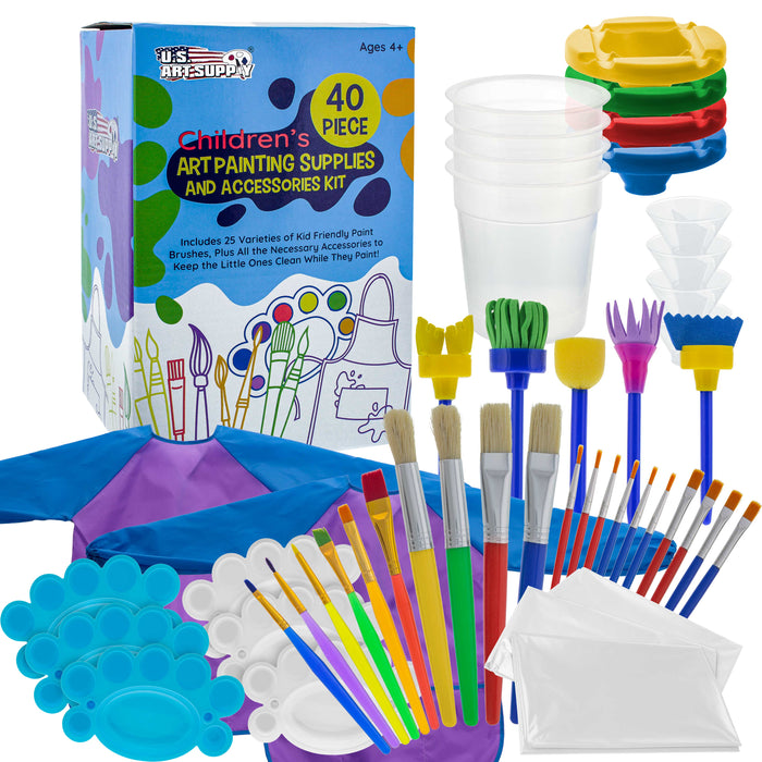 U.S. Art Supply 40-Piece Children's Art Painting Supplies and Accessories Kit - 25 Brushes, 4 No-Spill Paint Cups, 6 Palettes, 2 Kids Smocks, 3 Cloths