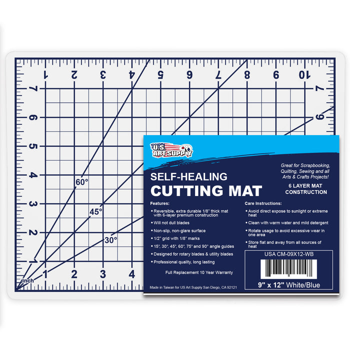 "9"" x 12"" White/Blue Professional Self Healing 5-6 Layer Double Sided Durable Non-Slip PVC Cutting Mat Great for Scrapbooking, Quilting, Sewing and All Arts & Crafts Projects"