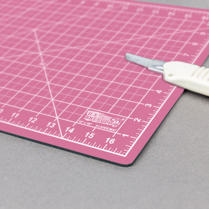 "9"" x 12"" Pink/Blue Professional Self Healing 5-Ply Double Sided Durable Non-Slip PVC Cutting Mat Great for Scrapbooking, Quilting, Sewing and All Arts & Crafts Projects"